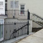 Hairpin style wrought iron fence and rails