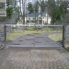Custom stainless steel driveway gate
